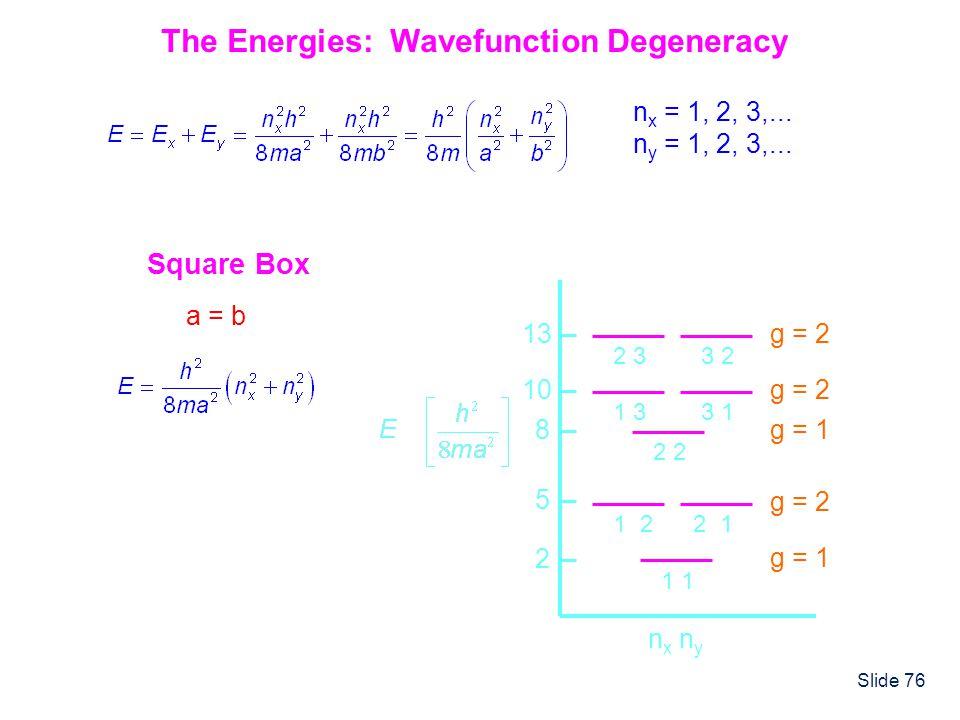 The Energies: Wavefunction Degeneracy