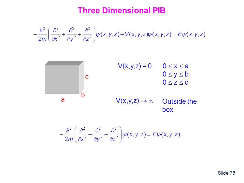 Three Dimensional PIB V(x,y,z) = 0 0  x  a 0  y  b 0  z  c a b c