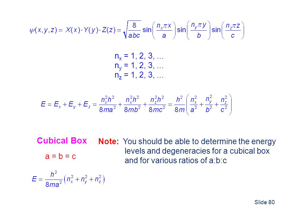 nx = 1, 2, 3, ... ny = 1, 2, 3, ... nz = 1, 2, 3, ... Cubical Box. Note: You should be able to determine the energy.