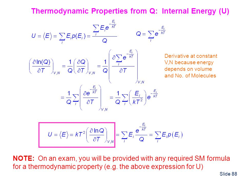 Thermodynamic Properties from Q: Internal Energy (U)