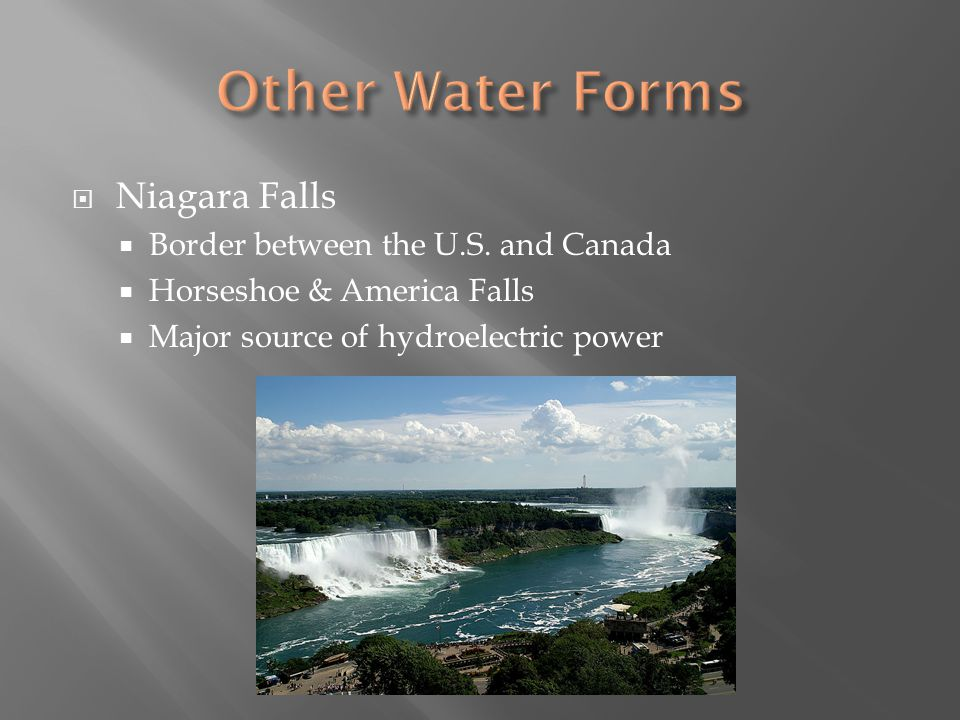 Other Water Forms Niagara Falls Border between the U.S. and Canada