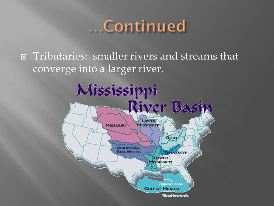 …Continued Tributaries: smaller rivers and streams that converge into a larger river.