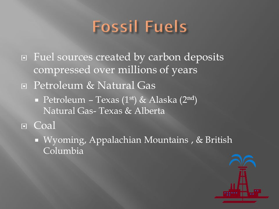 Fossil Fuels Fuel sources created by carbon deposits compressed over millions of years. Petroleum & Natural Gas.