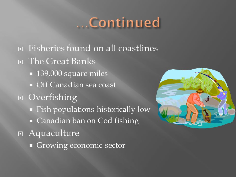 …Continued Fisheries found on all coastlines The Great Banks