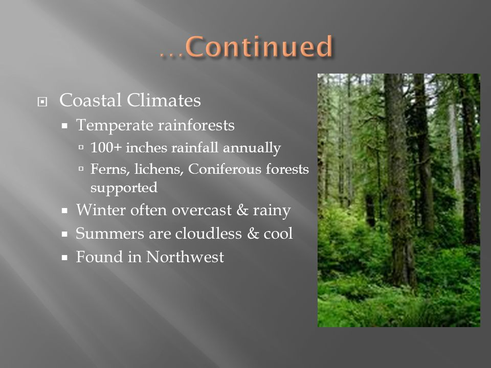 …Continued Coastal Climates Temperate rainforests