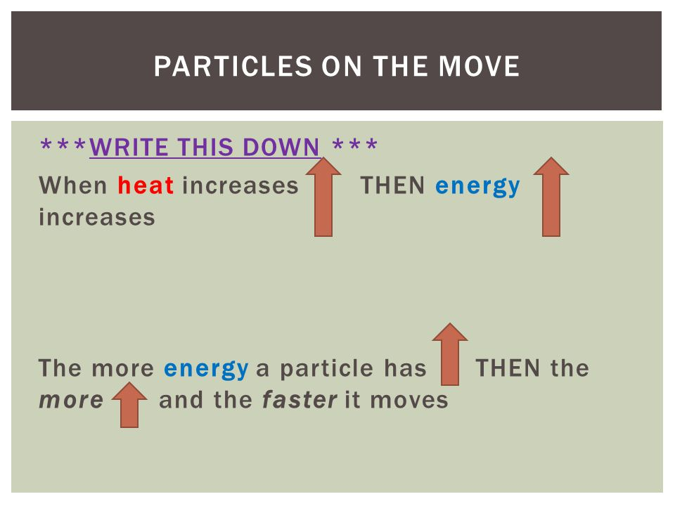 Particles On the move ***WRITE THIS DOWN ***
