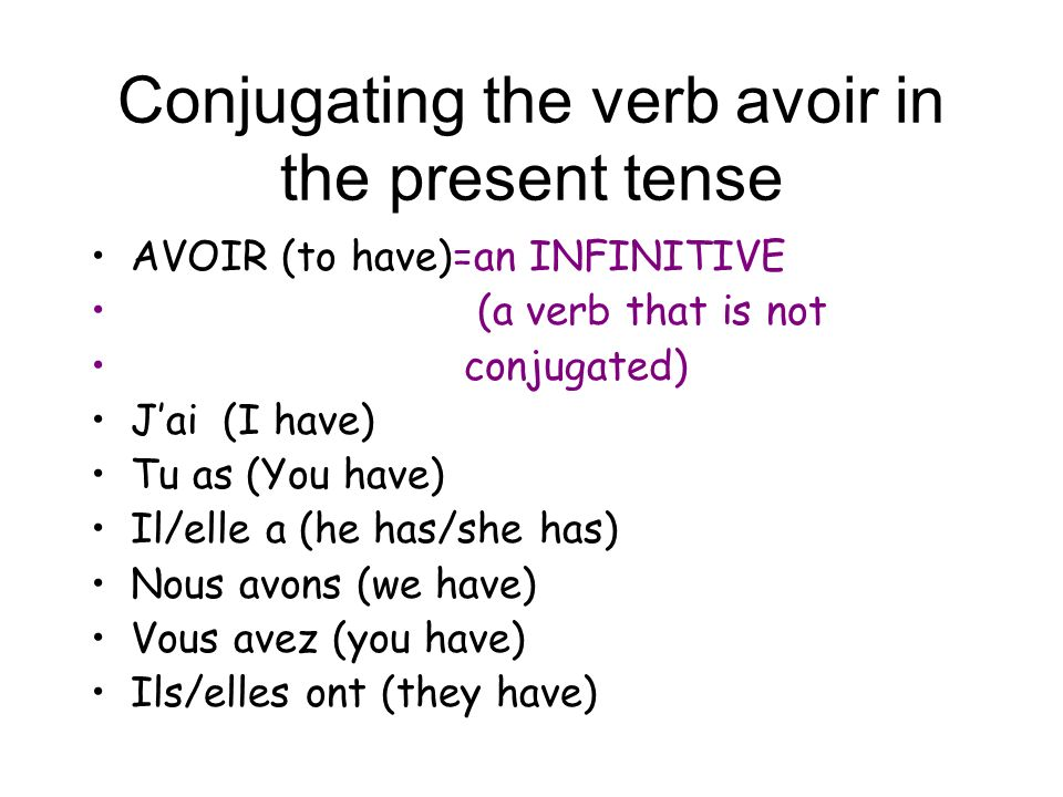 Conjugating the verb avoir in the present tense