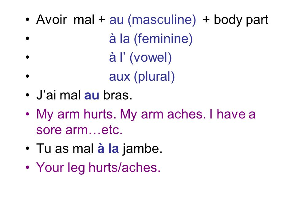 Avoir mal + au (masculine) + body part