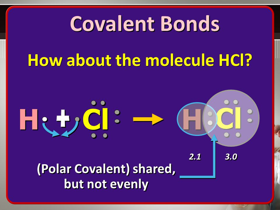 How about the molecule HCl (Polar Covalent) shared, but not evenly