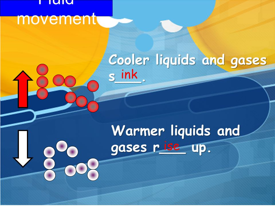 Fluid movement Cooler liquids and gases s___.