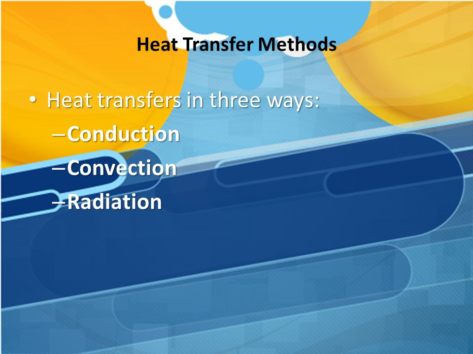 Heat transfers in three ways: Conduction Convection Radiation