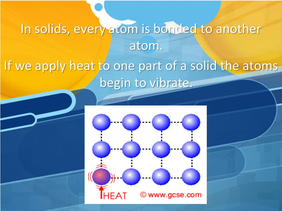 In solids, every atom is bonded to another atom
