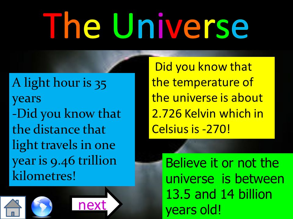The Universe Did you know that the temperature of the universe is about 2.726 Kelvin which in Celsius is -270!