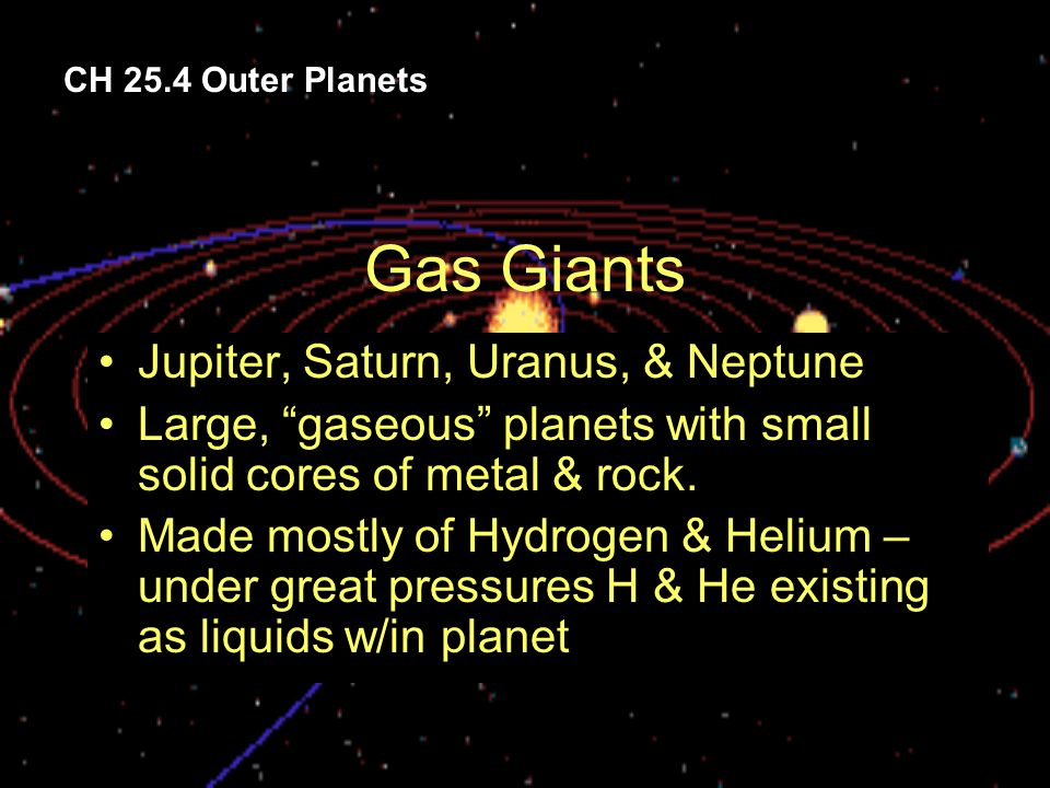 Gas Giants Jupiter, Saturn, Uranus, & Neptune