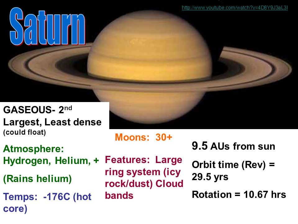 http://www.youtube.com/watch v=4D8Y9J3aL3I Saturn. GASEOUS- 2nd Largest, Least dense (could float)