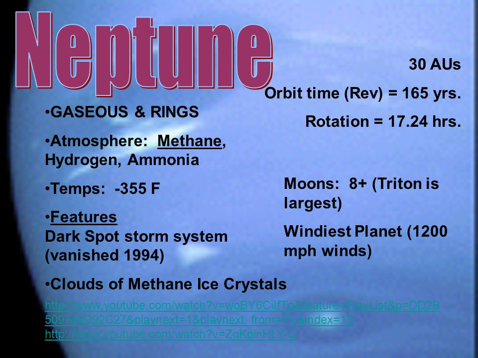 Neptune 30 AUs Orbit time (Rev) = 165 yrs. Rotation = 17.24 hrs.