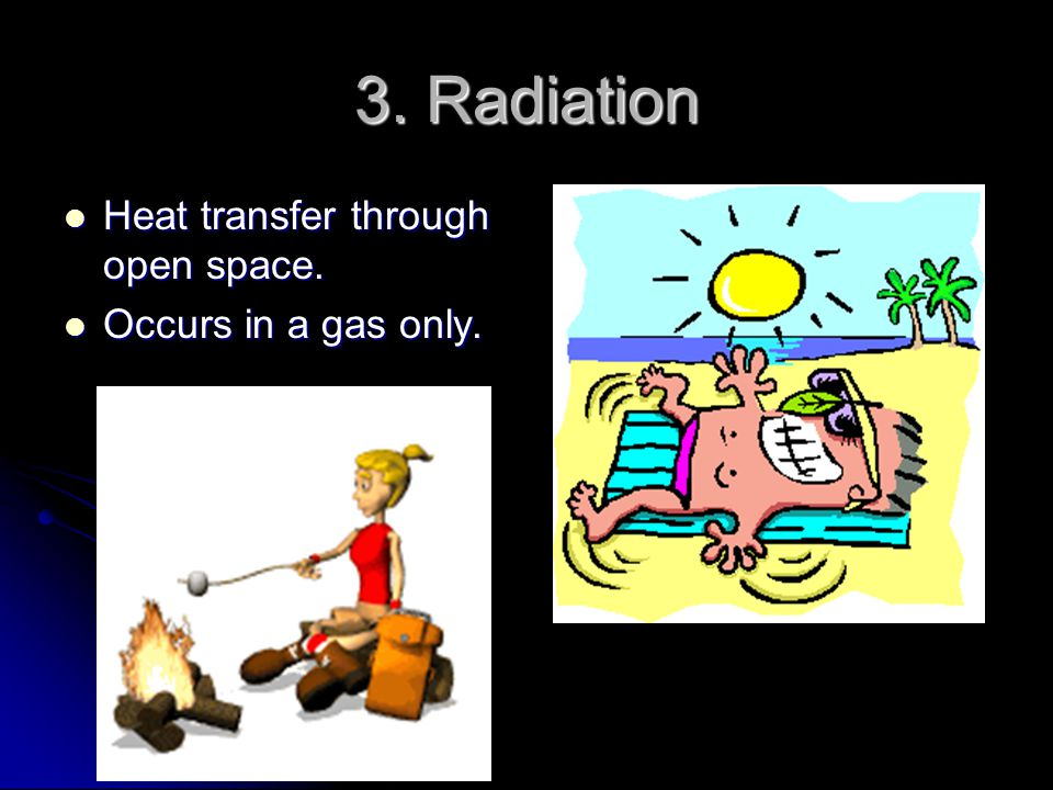 3. Radiation Heat transfer through open space. Occurs in a gas only.