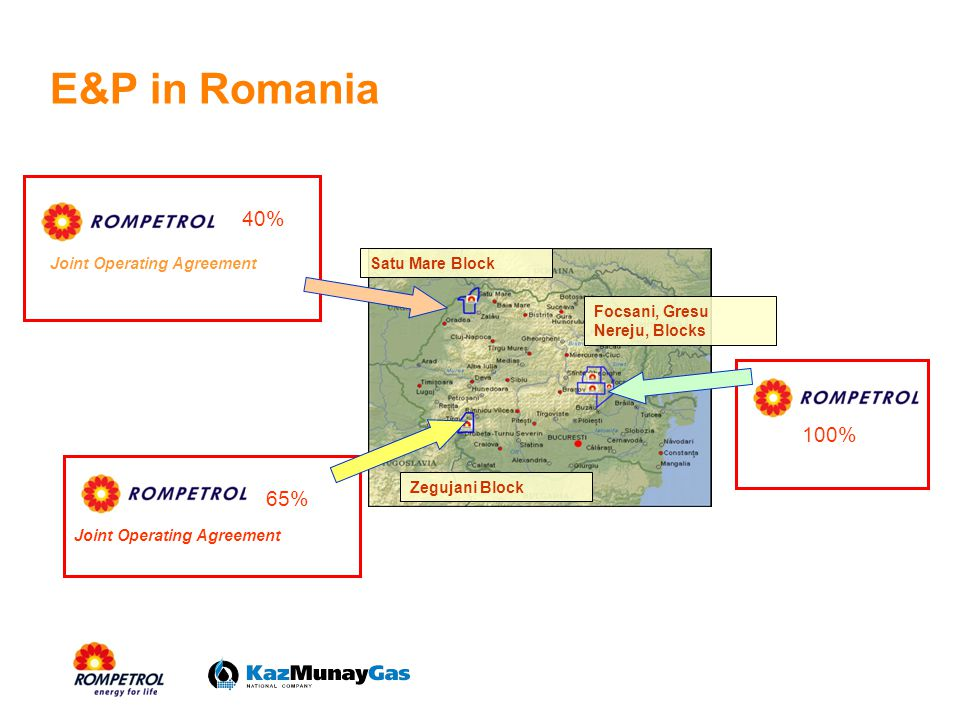 E&P in Romania 40% 100% 65% Joint Operating Agreement Satu Mare Block