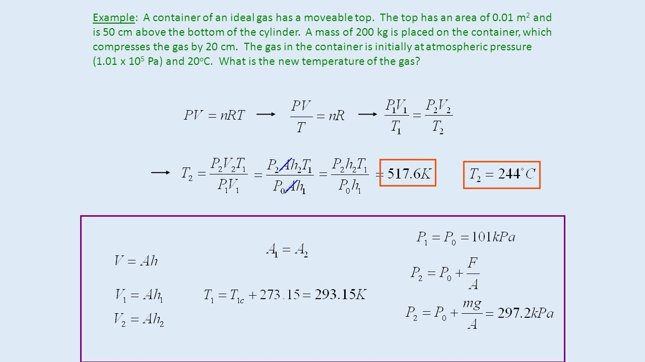 Example: A container of an ideal gas has a moveable top