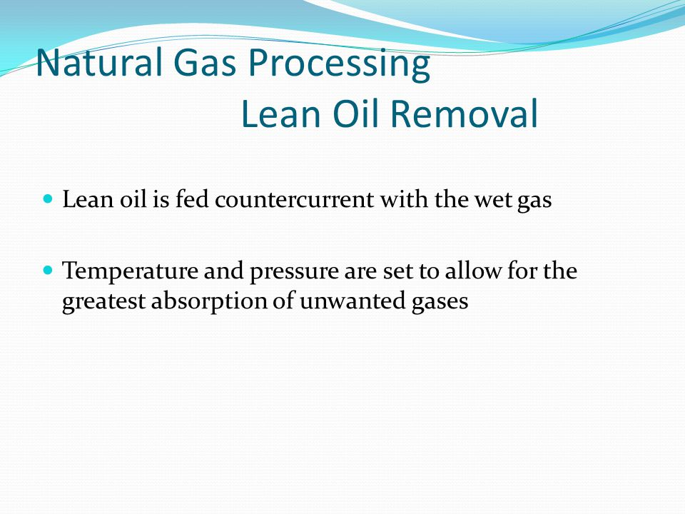 Natural Gas Processing Lean Oil Removal