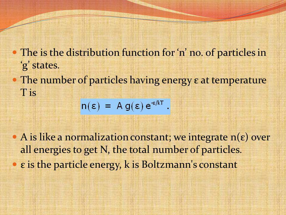 The is the distribution function for 'n' no. of particles in 'g' states.