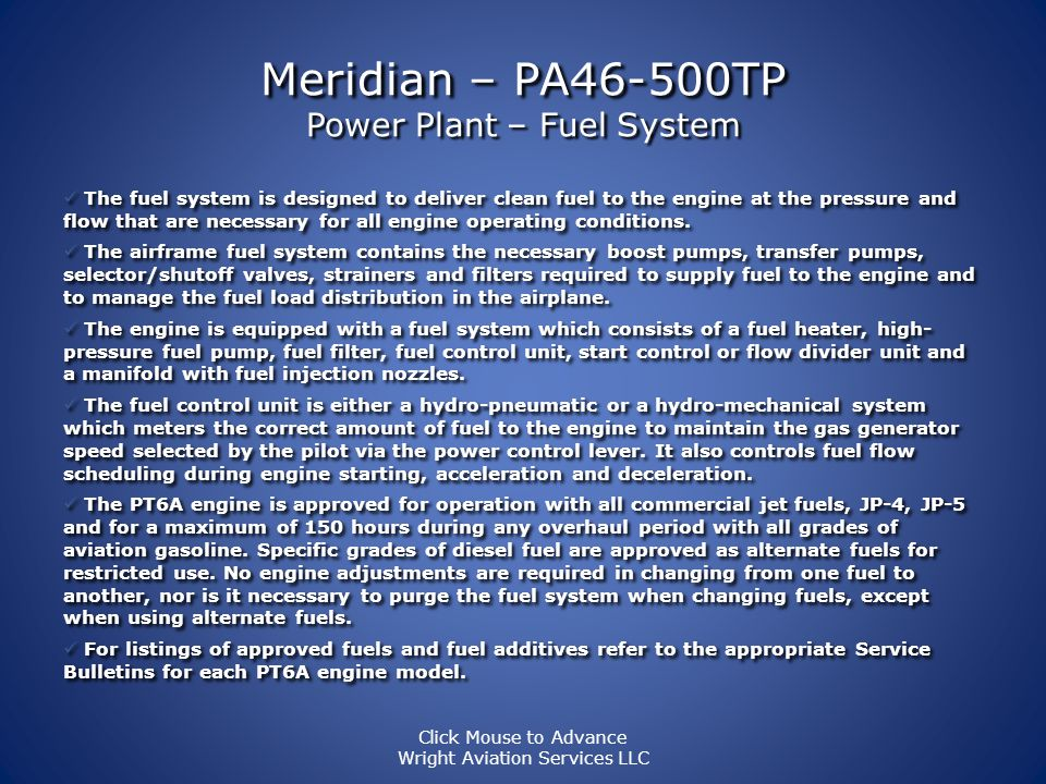 Meridian – PA46-500TP Power Plant – Fuel System