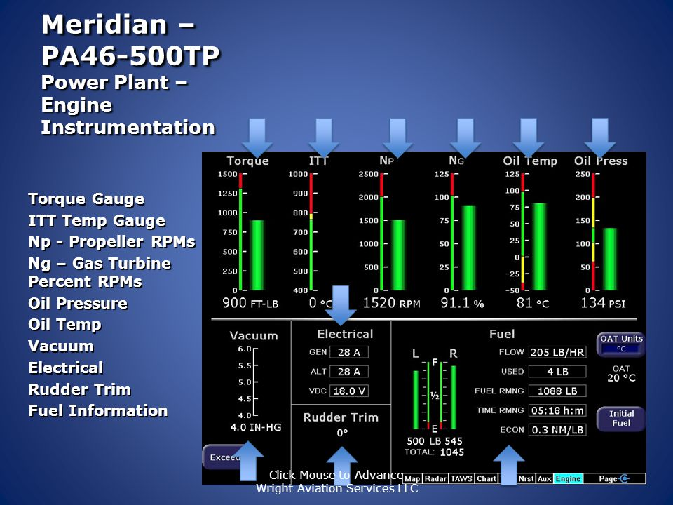 Meridian – PA46-500TP Power Plant – Engine Instrumentation