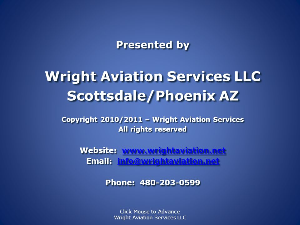 Wright Aviation Services LLC Scottsdale/Phoenix AZ