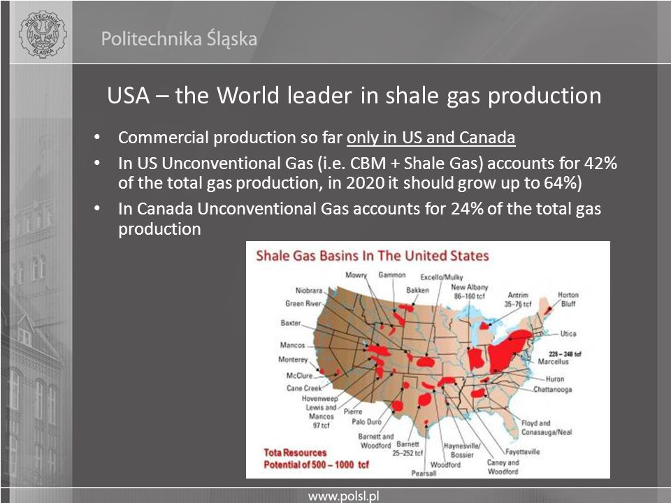 USA – the World leader in shale gas production