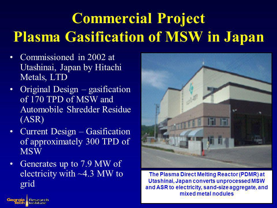 Commercial Project Plasma Gasification of MSW in Japan