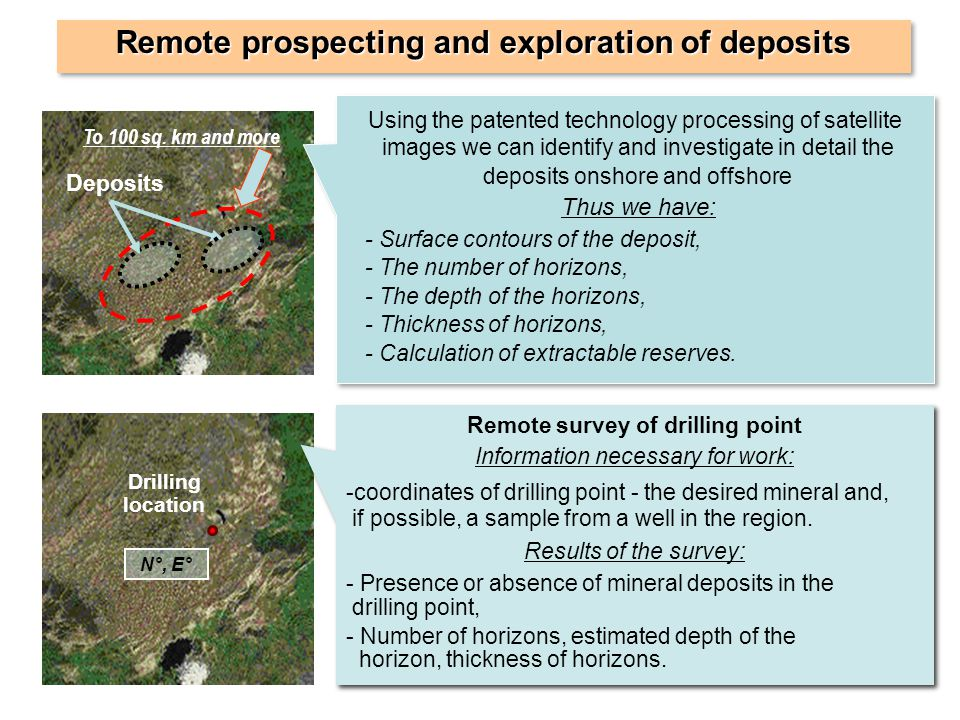 Remote prospecting and exploration of deposits