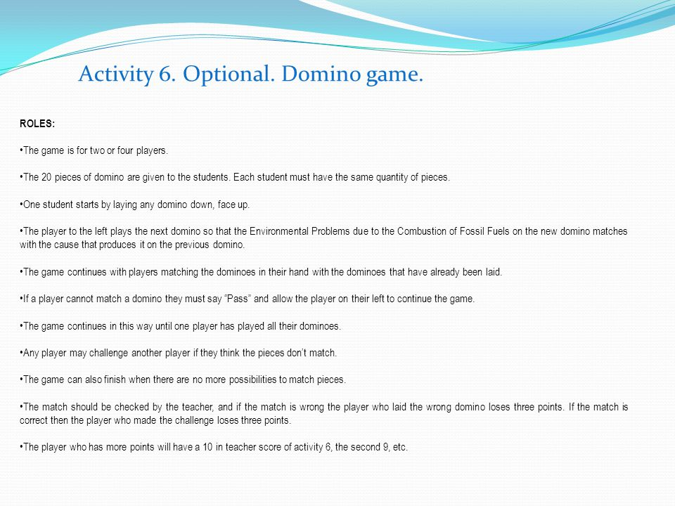 Activity 6. Optional. Domino game.