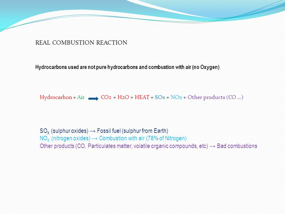 REAL COMBUSTION REACTION