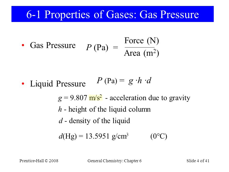 6-1 Properties of Gases: Gas Pressure