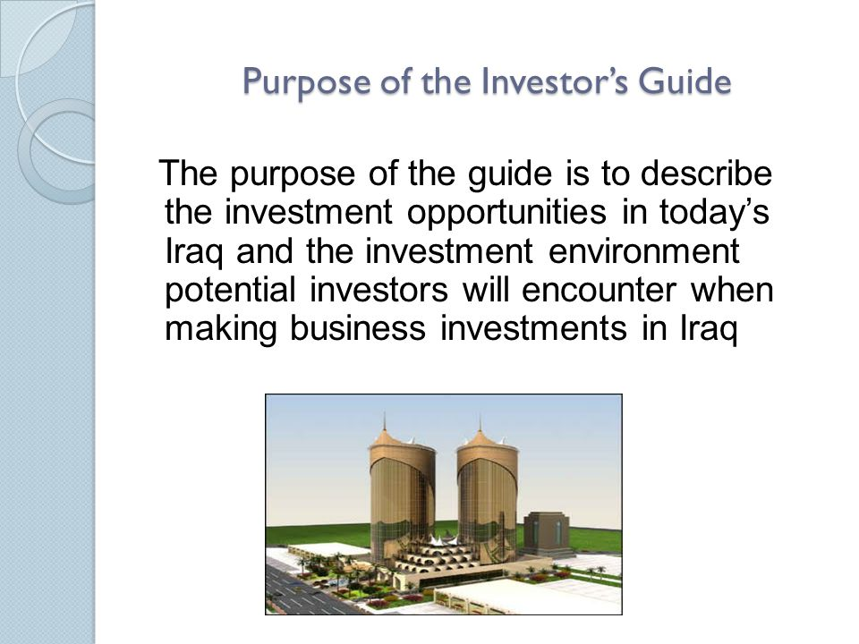 Purpose of the Investor's Guide