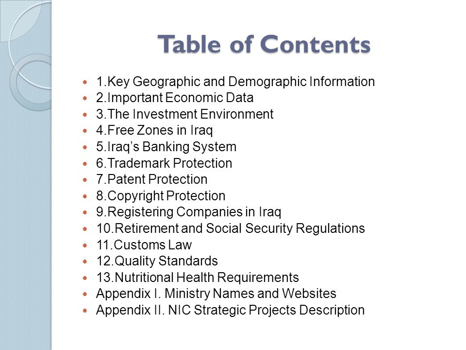 Table of Contents 1.Key Geographic and Demographic Information