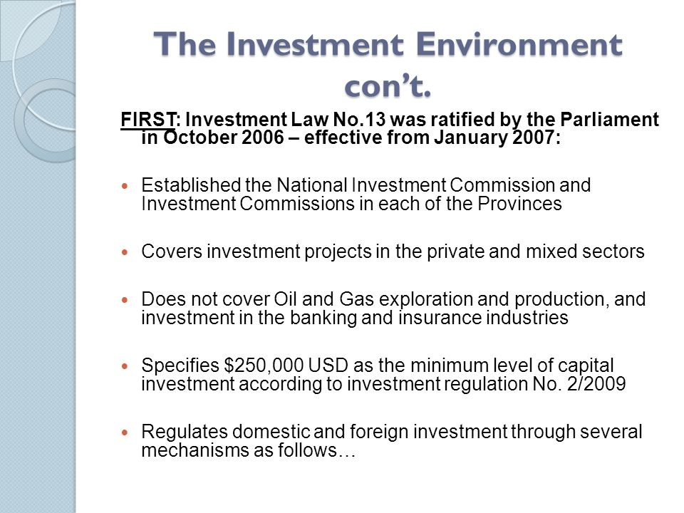 The Investment Environment con't.