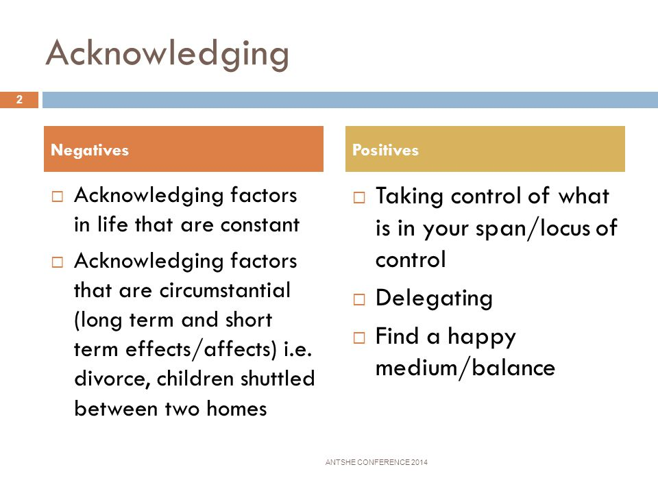 Acknowledging Taking control of what is in your span/locus of control