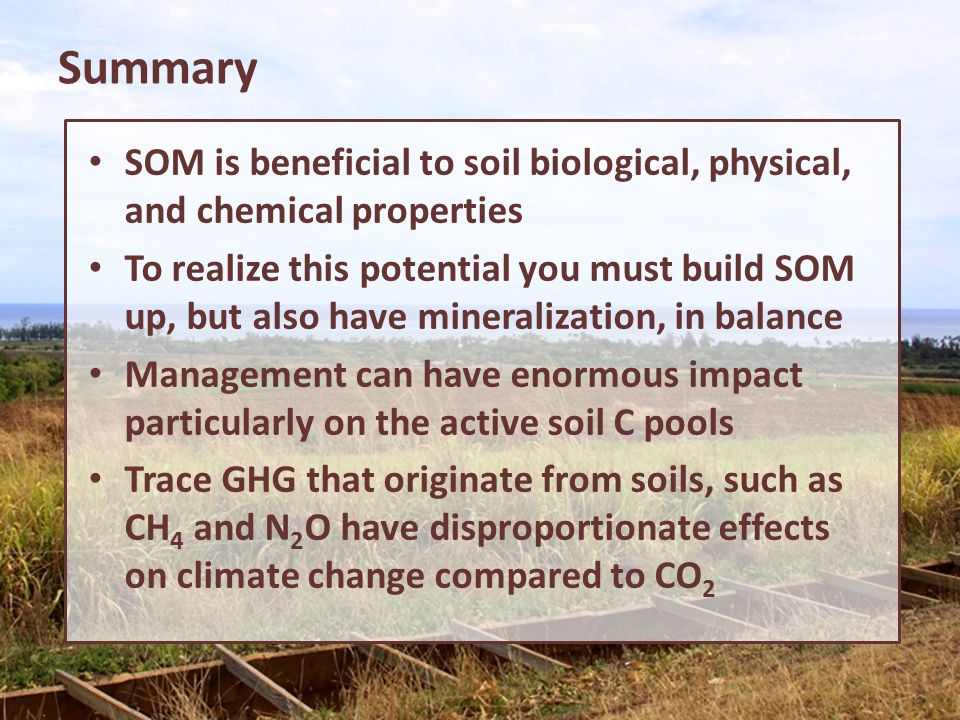 Summary SOM is beneficial to soil biological, physical, and chemical properties.