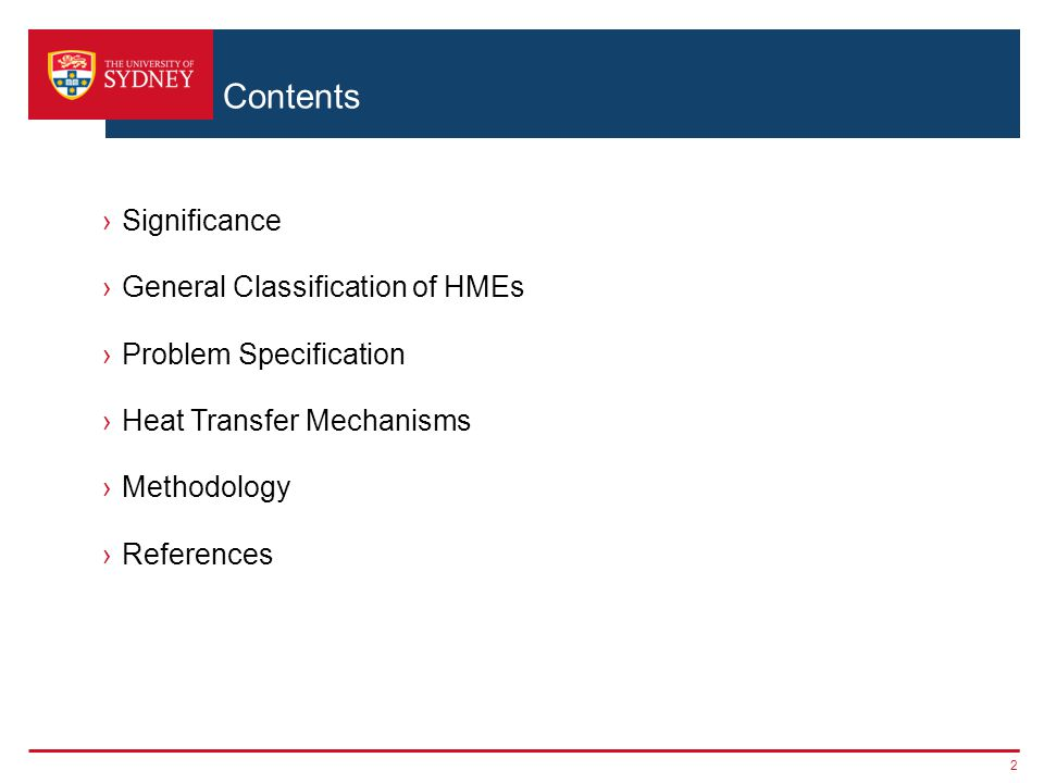 Contents Significance General Classification of HMEs