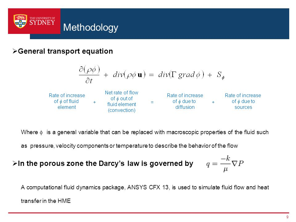 Methodology General transport equation
