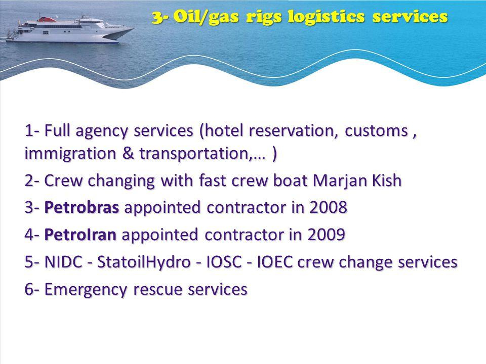 3- Oil/gas rigs logistics services