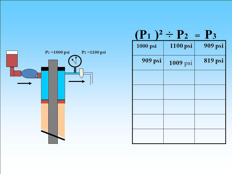 (P1 )² ÷ P2 = P3 1000 psi 1100 psi 909 psi 1009 psi 819 psi