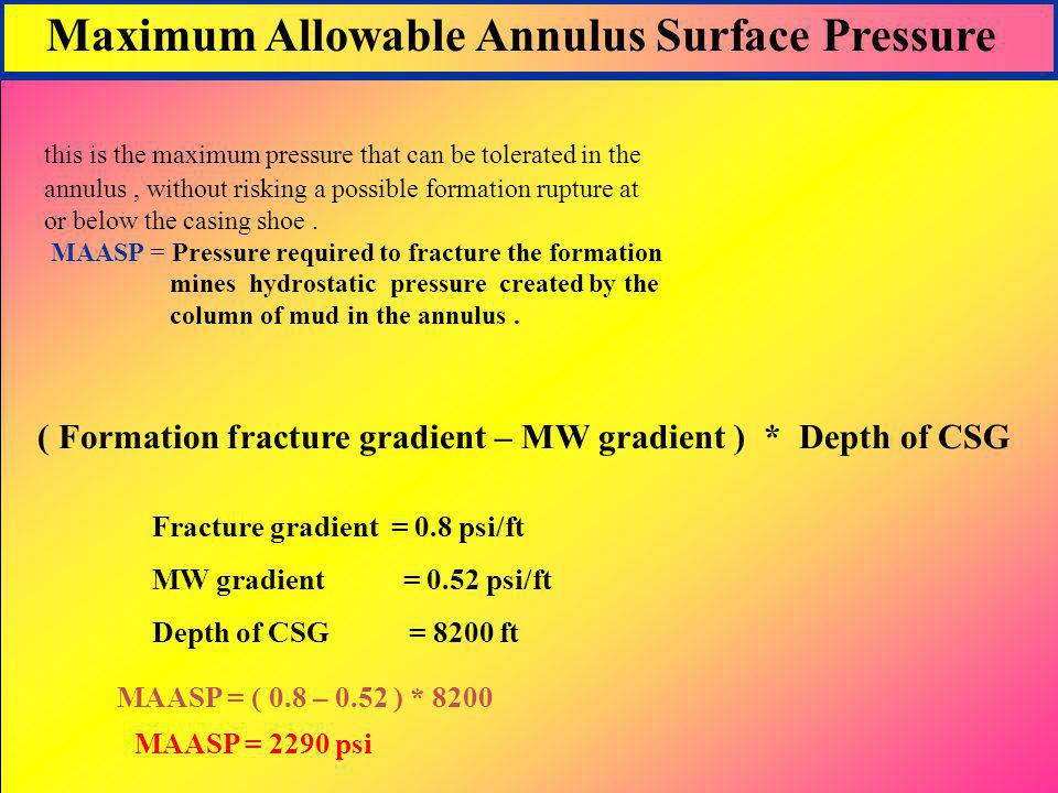 Maximum Allowable Annulus Surface Pressure
