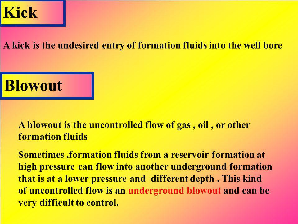 Kick A kick is the undesired entry of formation fluids into the well bore. Blowout.