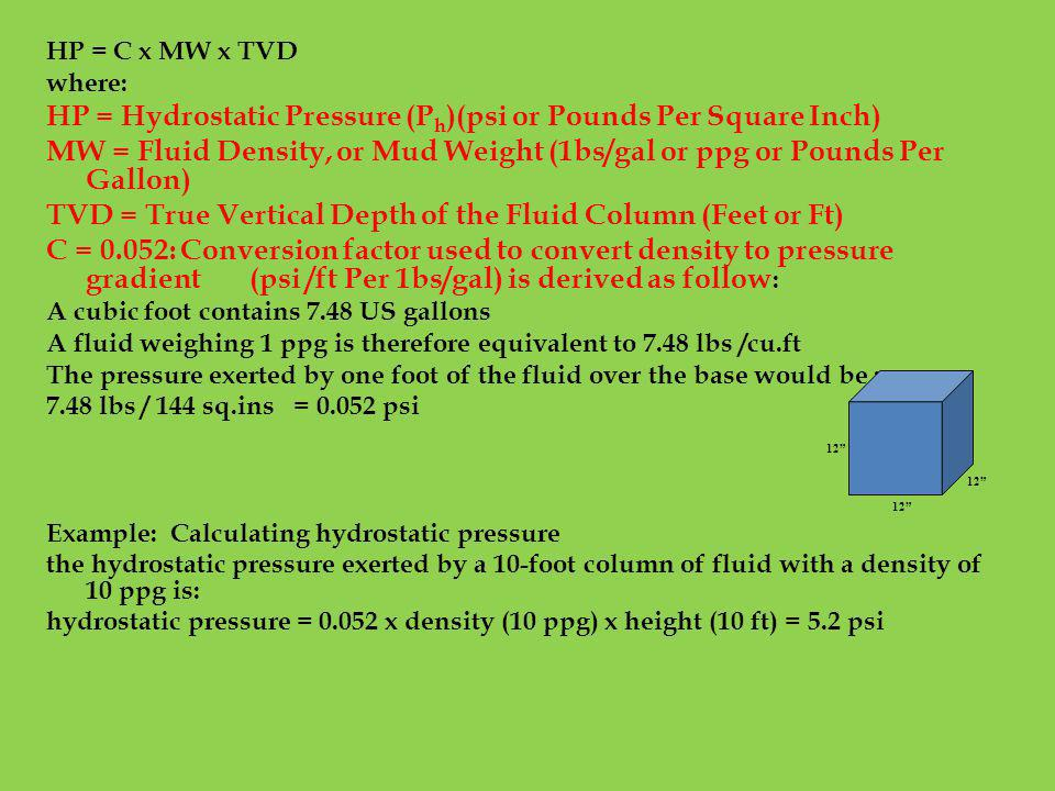 HP = Hydrostatic Pressure (Ph)(psi or Pounds Per Square Inch)