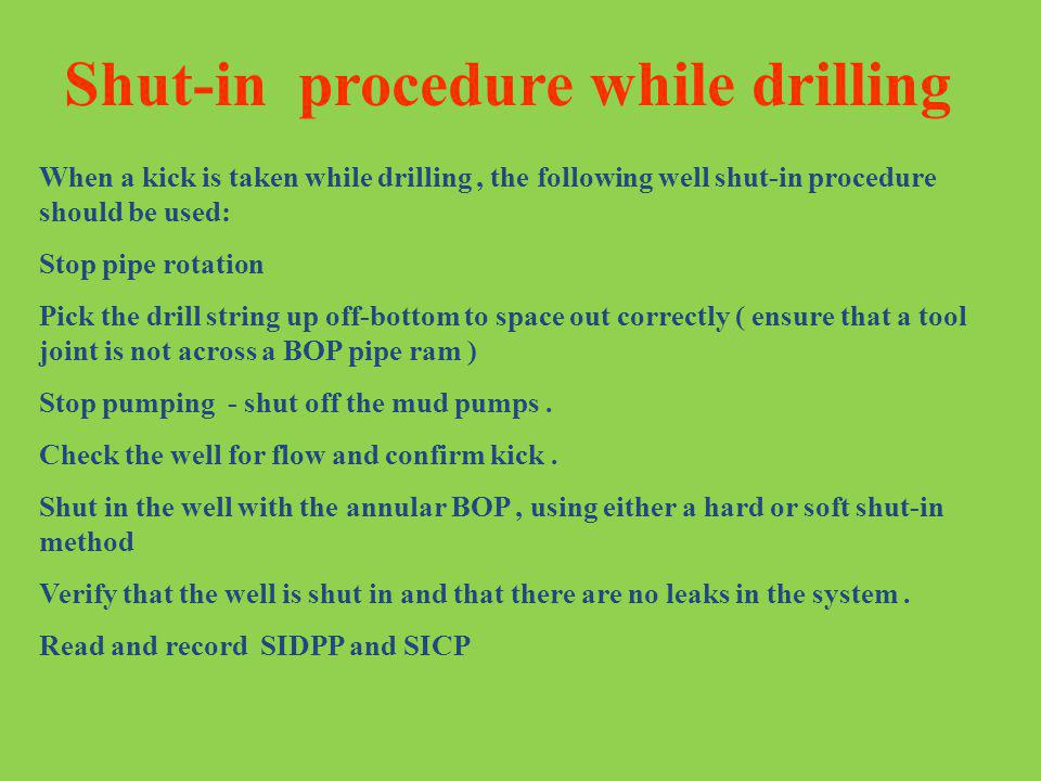 Shut-in procedure while drilling