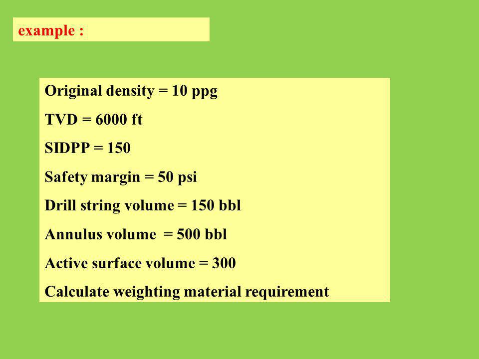 example : Original density = 10 ppg. TVD = 6000 ft. SIDPP = 150. Safety margin = 50 psi. Drill string volume = 150 bbl.