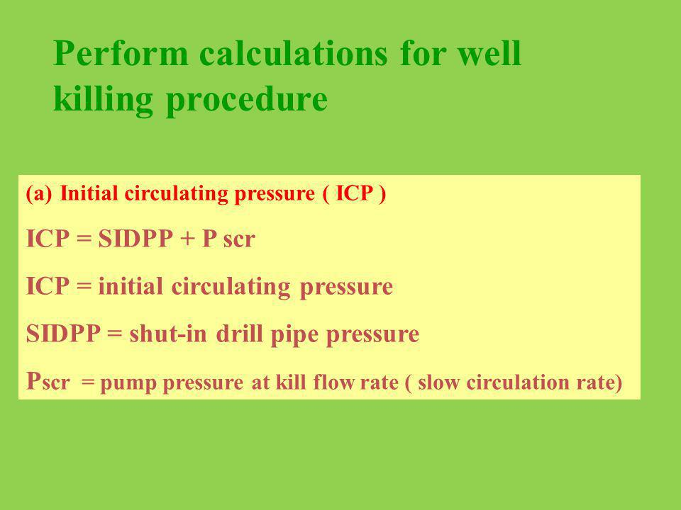 Perform calculations for well killing procedure
