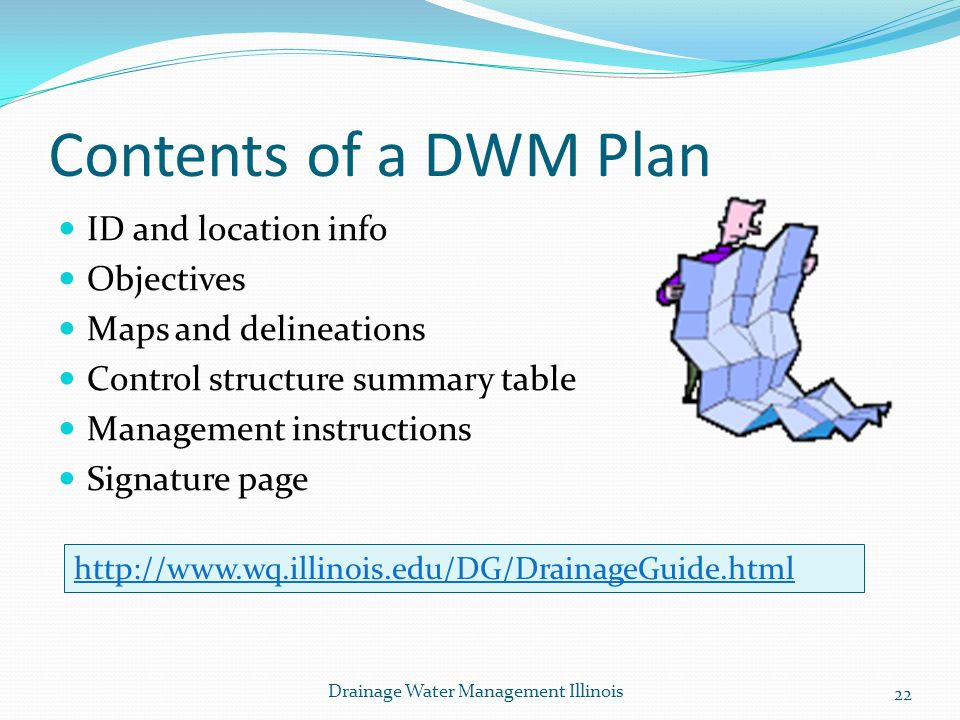 Contents of a DWM Plan ID and location info Objectives
